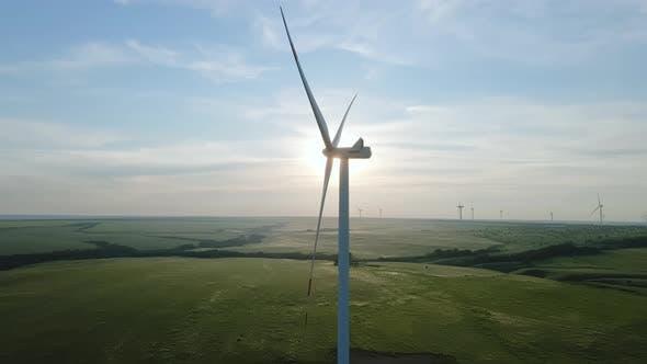 Wind Turbine Generate Alternative Energy at Wind Power Station