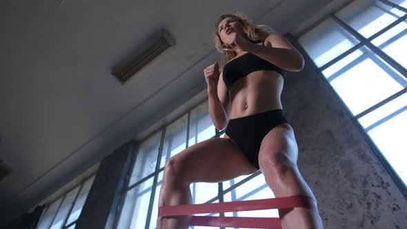 Thumbnail for Sporty Woman Raising Legs During Workout in Gym