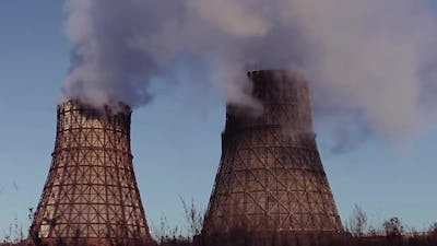 Power Station Against the Blue Sky Time Lapse