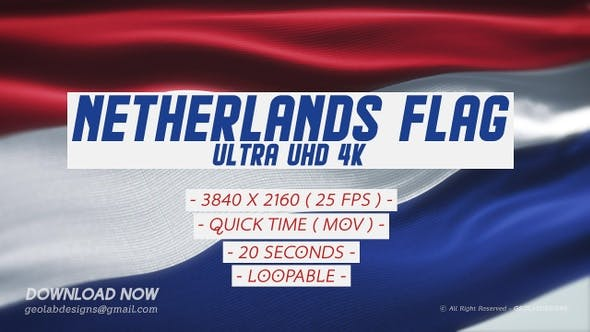 Thumbnail for Netherlands Flag - Ultra UHD 4K Loopable
