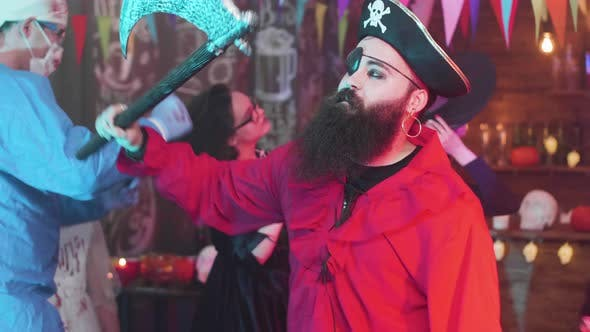 Thumbnail for Handsome Young Man with Big Beard Dressed As a Pirate at a Halloween Party