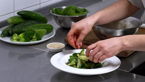 Chef Making Fresh Salad
