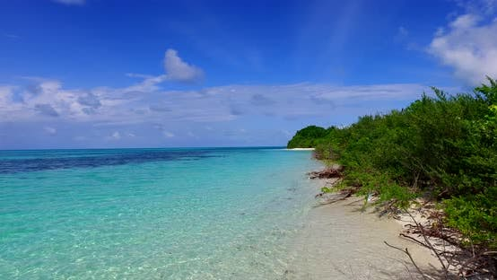 Thumbnail for Wide flying clean view of a sunshine white sandy paradise beach and blue water background in colourf