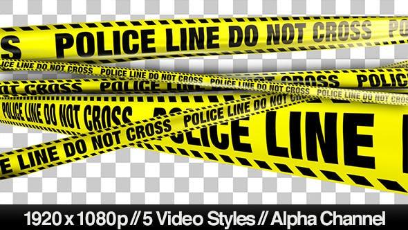 Gelbe Polizeilinie nicht kreuzen Band - 5 Videos