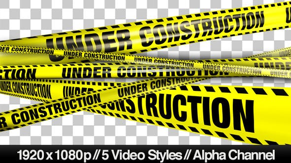 Thumbnail for Yellow Under Construction Boundry Tape - 5 Videos
