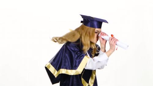 Woman with Graduation Gown and Diplom