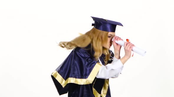 Thumbnail for Woman with Graduation Gown and Diplom