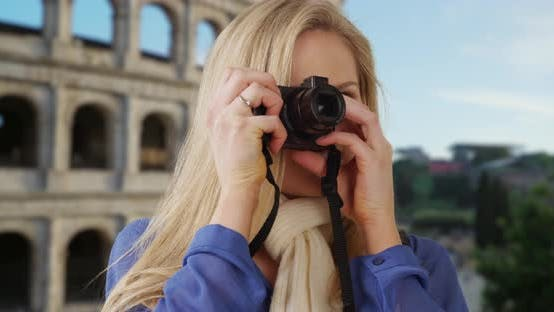 Thumbnail for Young white female in Rome takes photos to show friends back home