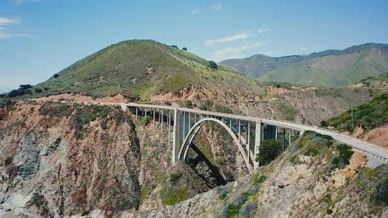 Thumbnail for Amazing Panoramic Aerial Shot of Amazing Bixby Canyon Bridge and Highway 1