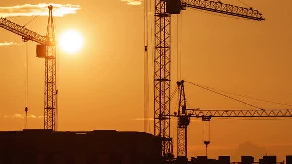 Construction Site at Orange Sunset