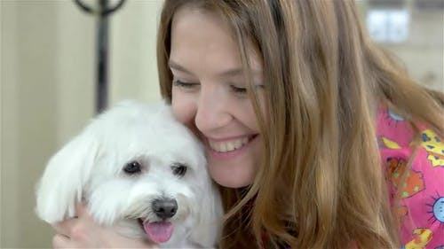Smiling Woman and Yorkshire Terrier