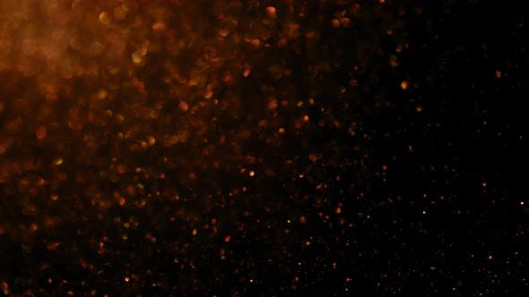 Thumbnail for Bronze Glitter Black Background, Moving Particles