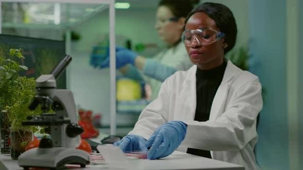 African Chemist Looking at Labgrown Vegan Meat Sample