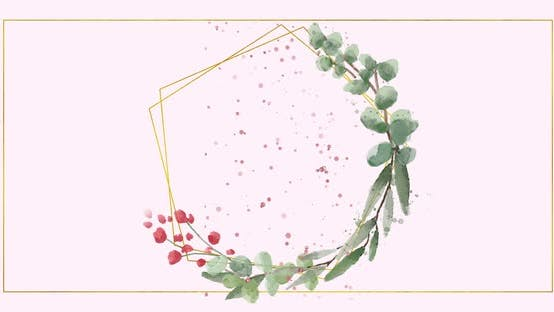 Animation of a geometric shape with flowers and glitters on a pale rose background