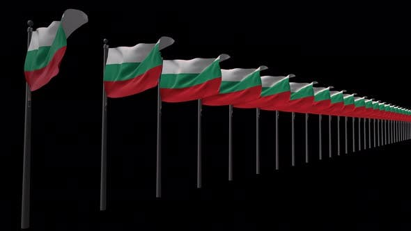 Row Of Bulgaria Flags With Alpha 4K