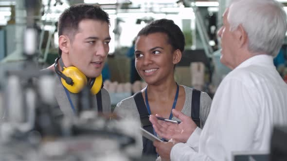 Thumbnail for Young Factory Workers Discussing Machinery with Supervisor