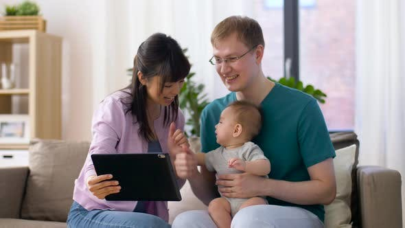 Thumbnail for Family with Baby Having Video Call on Tablet Pc 16