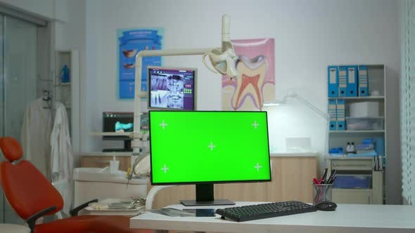 Thumbnail for Computer with Green Screen in Stomatological Clinic