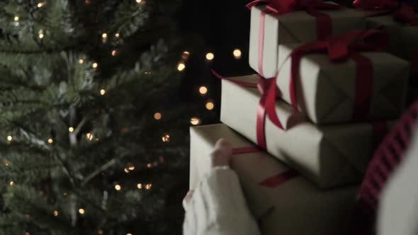 Thumbnail for Woman Walking Hold Christmas Gift