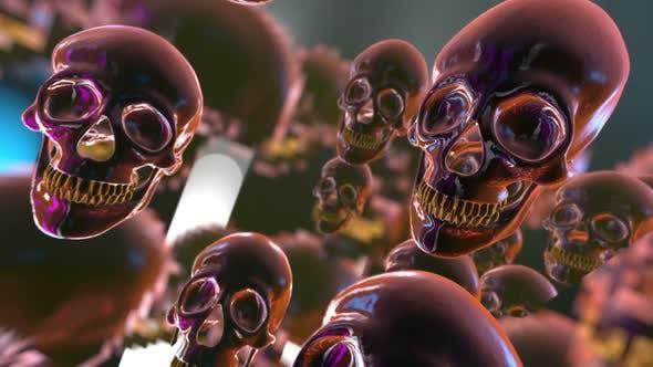 Dark glass skulls