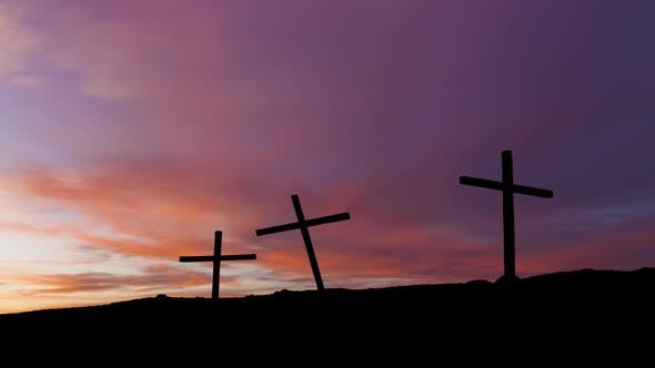 Thumbnail for Timelapse of Sunset with Three Crosses in Silhouette on a Hill.