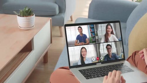 Online Working, Video Call Due To Social Distancing At Home Office