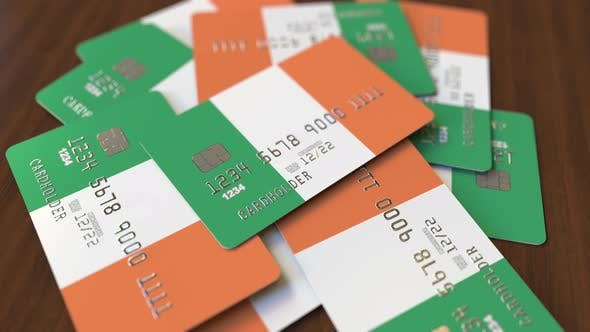 Thumbnail for Pile of Credit Cards with Flag of Ireland
