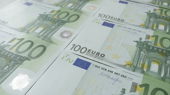 Thumbnail for Euro  banknotes on table shallow DOF slow tilt 4K 2160p 30fps UltraHD  footage - Tilting on currency
