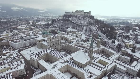 Thumbnail for Aerial view of Salzburg on a winter day