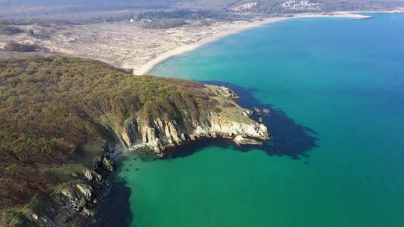 Thumbnail for Aerial drone view to beautiful rocky beach
