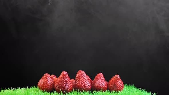 Thumbnail for Pile of Red Strawberries on Green Grass with Black Background