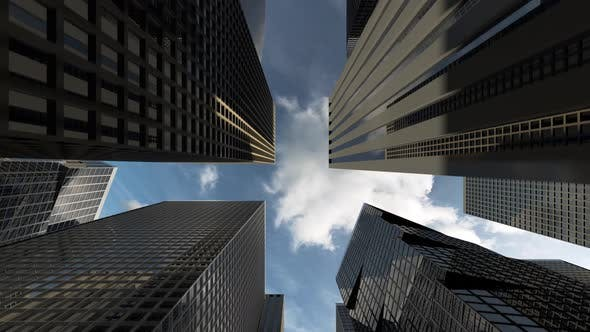 Business District with Office Buildings and Skyscrapers of Successful Companies