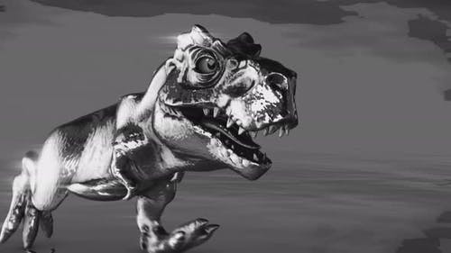 4K Metal running dinosaur