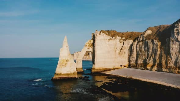 Thumbnail for Drone Flying Around Famous Epic Normandy White Chalk Arch Cliffs Revealing Picturesque Panorama