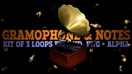 Thumbnail for Retro Gramophone & Flying Notes - Pack of 3