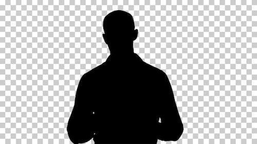 Silhouette  man explaining , Alpha Channel