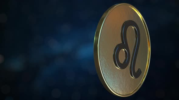Thumbnail for Gold Token with Leo Zodiac Sign
