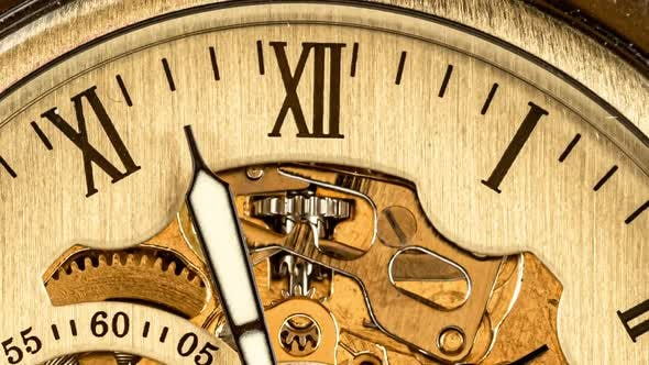Antique Clock Dial Close-up. Vintage Pocket Watch