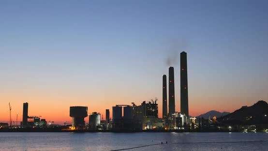 Thumbnail for Power station in Hong Kong under sunset
