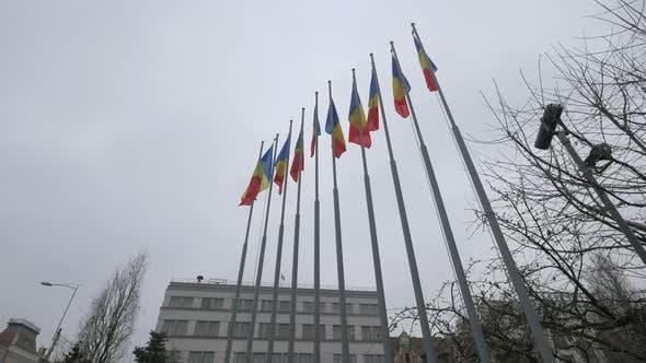 Flag poles in Avram Iancu Square, Cluj-Napoca