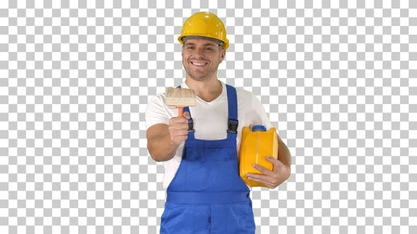 Thumbnail for Worker holding paint brush smiling to camera, Alpha Channel