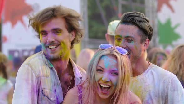 Thumbnail for Group of Friends Dancing Hilariously at Holi Color Festival, State of Euphoria