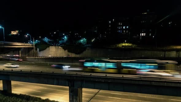 Thumbnail for City Traffic Hyperlapse Downtown Seattle Freeway Night Motion Time Lapse