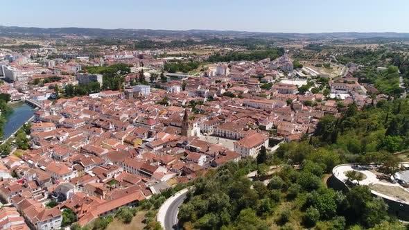 Thumbnail for Flying Over Historic City Center of Tomar, Portugal