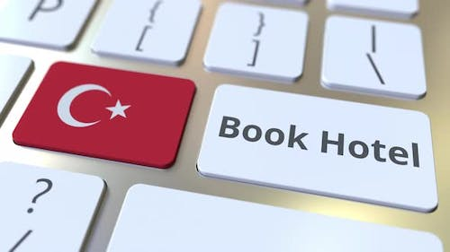 BOOK HOTEL Text and Flag of Turkey on the Buttons