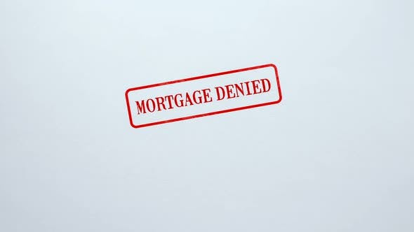 Thumbnail for Mortgage Denied Seal Stamped on Blank Paper Background, Business Document