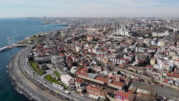 Thumbnail for Sealing an Aerial View of Spring Istanbul. Roofs of Low Houses and Majestic Mosques