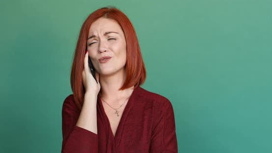 Thumbnail for Beautiful Loving Woman with Red Hair Talking with Lover on Phone