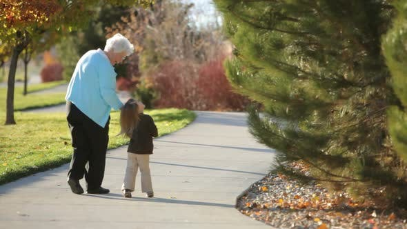 Thumbnail for Great grandmother walking with young girl