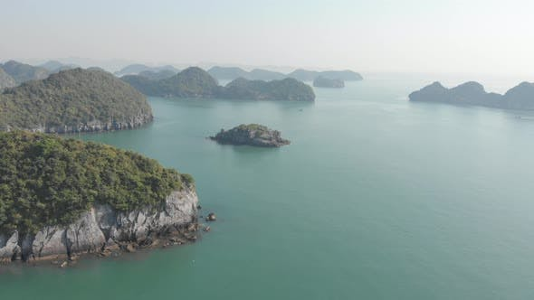 Thumbnail for Aerial: unique flying over Ha Long Bay and Cat Ba island, famous tourism destination in Vietnam